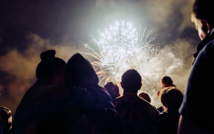 Crowd watching fireworks on Bonfire night.
