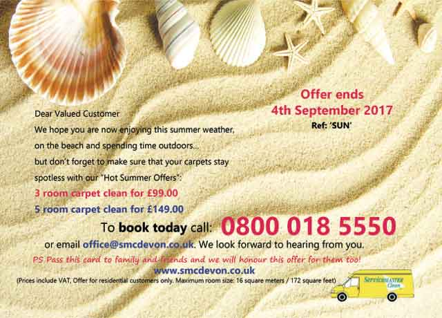 Summer carpet cleaning offer in Torbay Devon